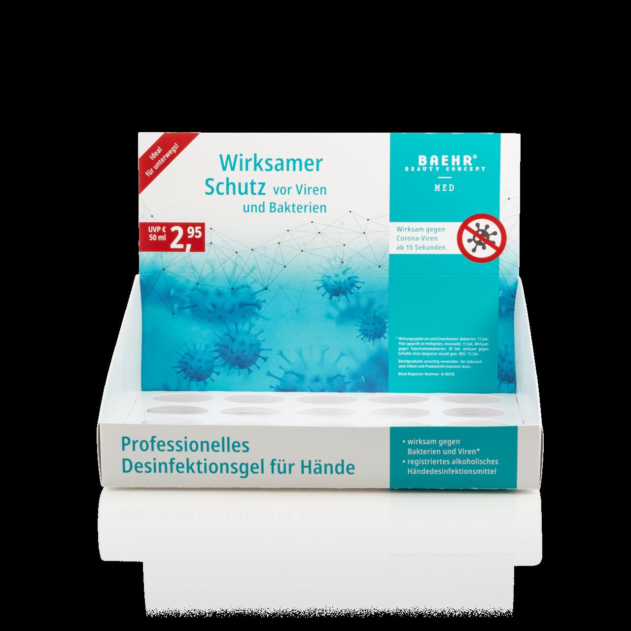 Verkaufsdisplay für Desinfektionsgel (Leerdisplay) 50 ml
