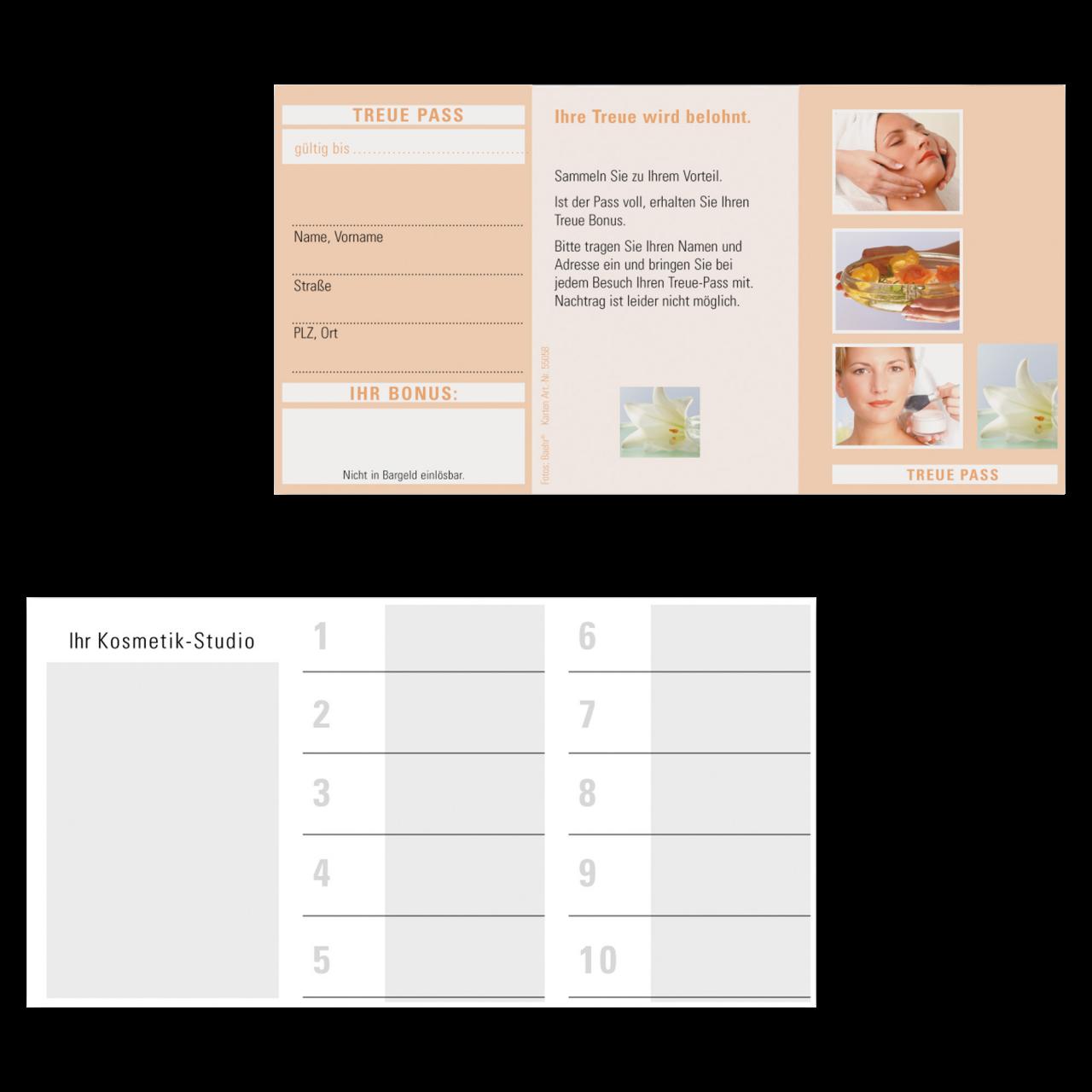 Treue-Pass Kosmetik 1 Block (100 Blatt)