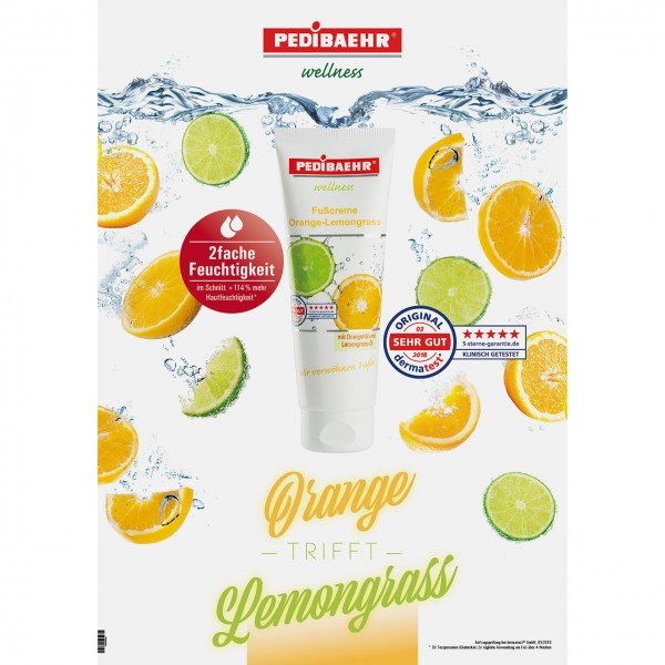 Softposter PEDIBAEHR Orange-Lemongrass Fußcreme, A1, inkl.Klemmleiste