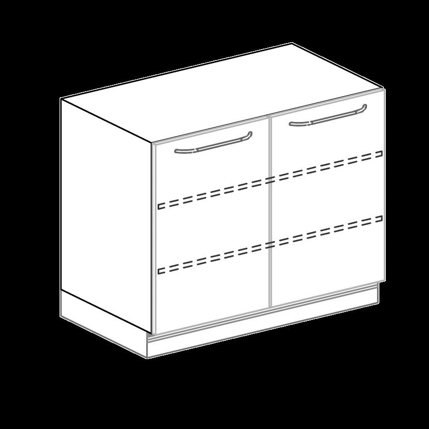 Türenschrank für Hygienezeile Breite 100 cm