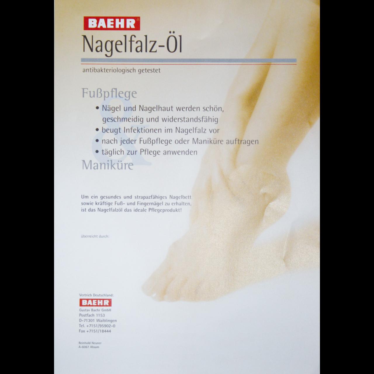 Flyer BAEHR-Nagelfalz-Öl DIN A4 1 Stk.