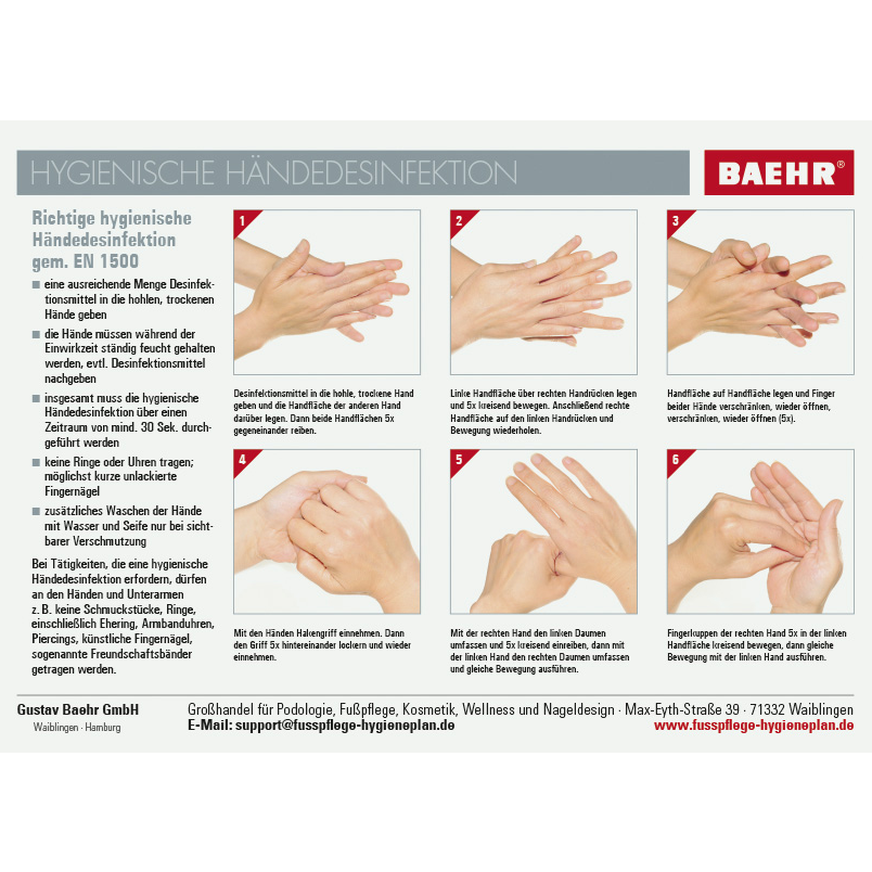 Beileger Händedesinfektion gem. EN 1500