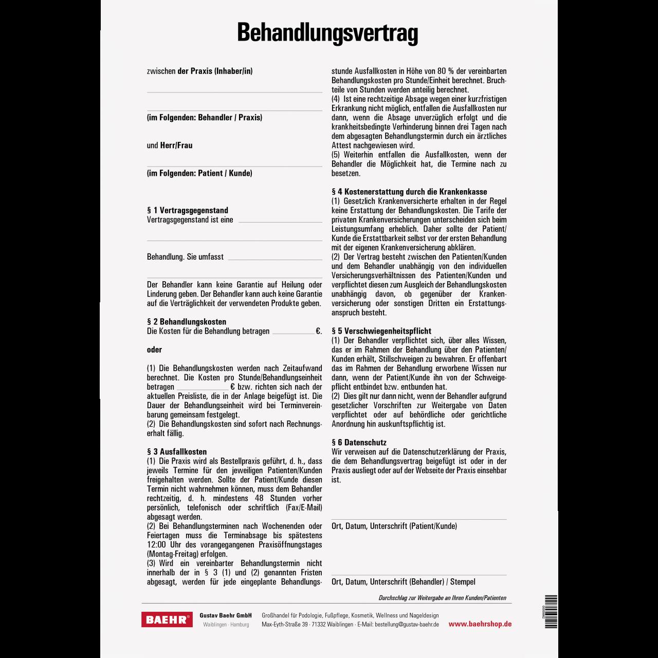 Behandlungsvertrag DIN A4 50 ST