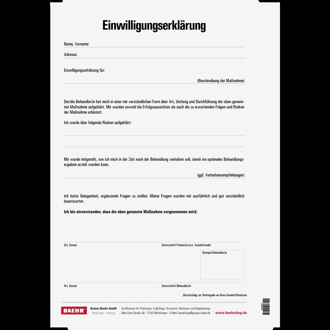 Einverständniserklärung 1 Block (2 x 25 Blatt)