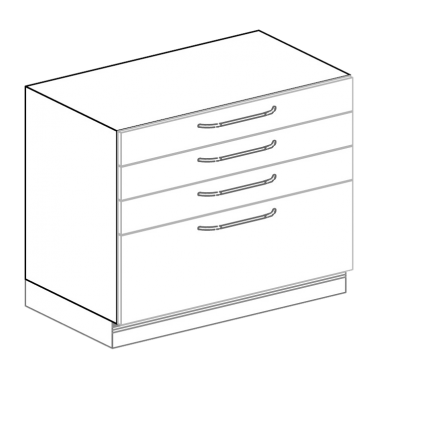 Schubkastenschrank für Hygienezeile Breite 100 cm