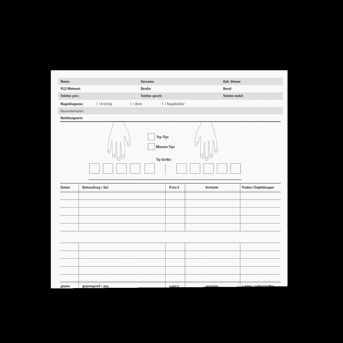 Nail-Karteikarten 100ST/PCK 1 Pack (100 Stk.)