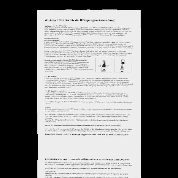 B/S SPANGE Anleitung zum Spangensystem Quick