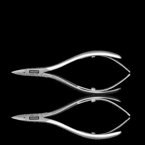 BAEHR PODOLINE Eckenzange 10 cm, extraschlank und fein, gebürstet