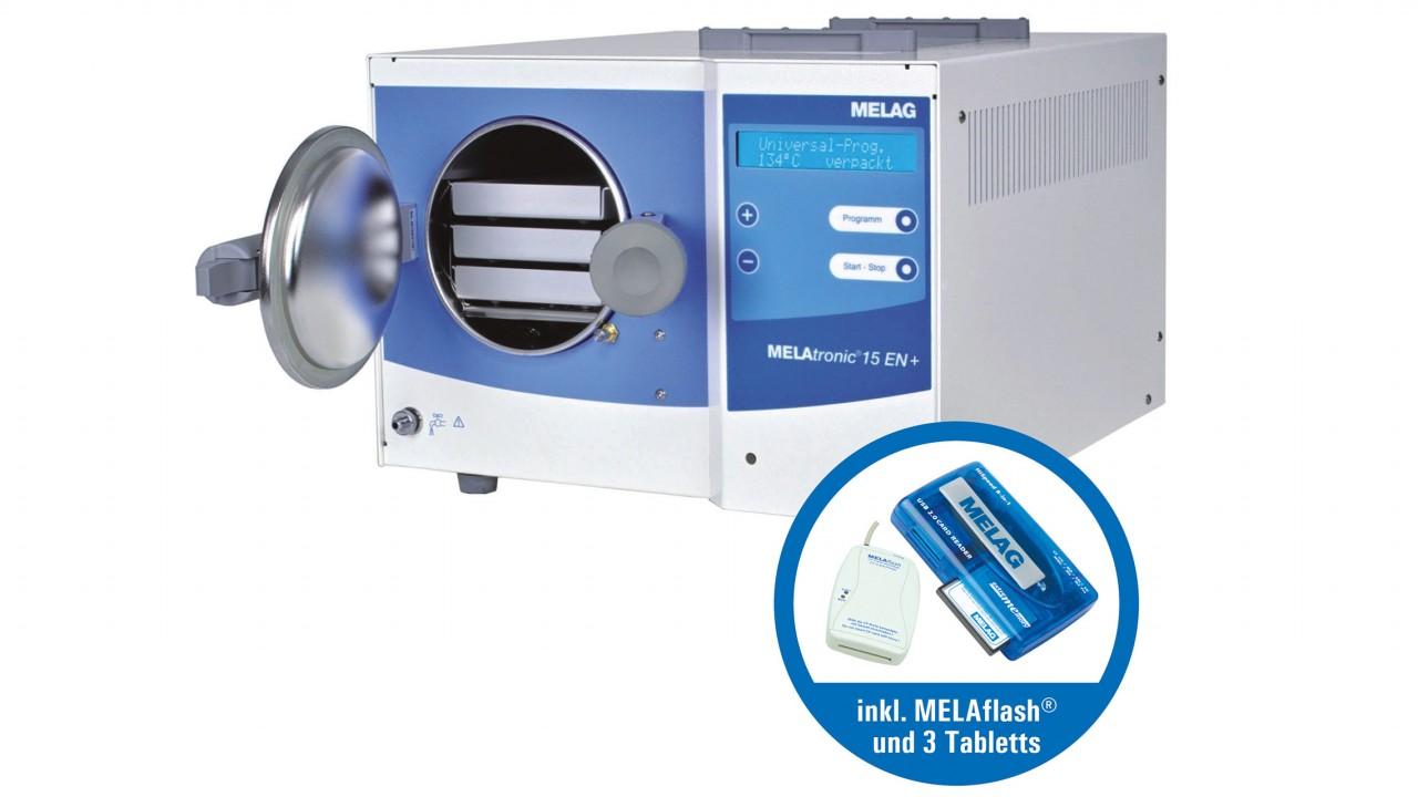 Set Autoklav Melatronic EN 15+ mit aktiver Trocknung inkl. 3 Tabletts und Melaflash