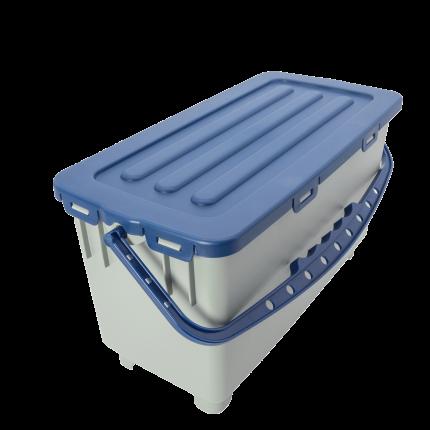 Moppbox, grau blauer Henkel und Deckel, 22 Liter