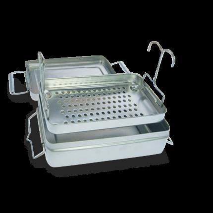 Desinfektionsbox aus Edelstahl mit Sieb