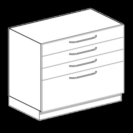 Schubkastenschrank für Hygienezeile Breite 100 cm, Front grau / Korpus weiß
