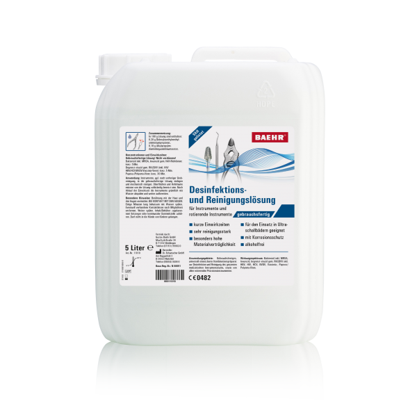 BAEHR Desinfektions- und Reinigungslösung für Instrumente + Fräser, 5000 ml